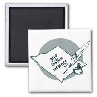 old paper ink and quill pen hand writing cartoon magnet