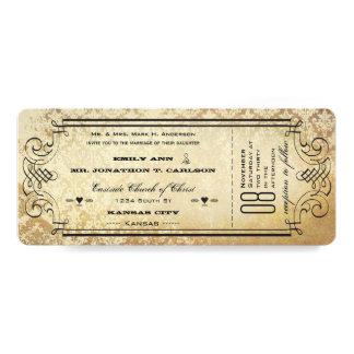 Old Paper Ticket Flourish Typography Wedding 10 Cm X 24 Cm Invitation Card