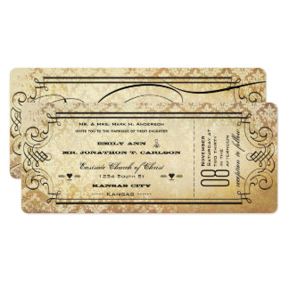 Old Paper Ticket Flourish Typography Wedding Card