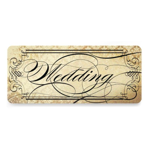 Old Paper Ticket Flourish Typography Wedding Announcements