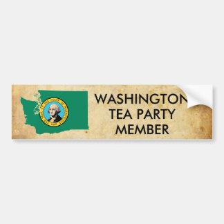 old_paper, washington_flag_map, WASHINGTON, TEA... Bumper Sticker