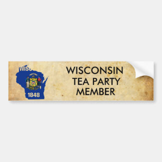 old_paper, wisconsin_flag_map, WISCONSIN, TEA P... Car Bumper Sticker
