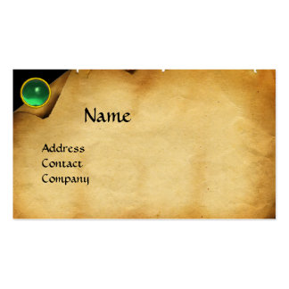 OLD PARCHMENT, GEM STONE, MONOGRAM green Business Card