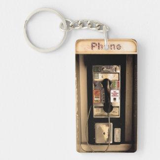 Old Pay Phone Single-Sided Rectangular Acrylic Key Ring