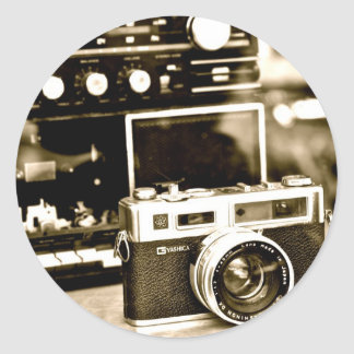 Old Photo Camera Round Sticker