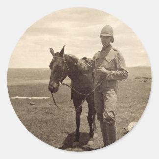 Old Photo of a British Soldier Round Sticker
