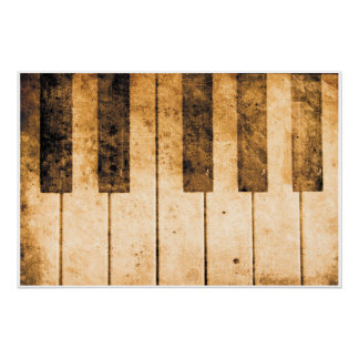 Old Piano Keys Music Art Poster