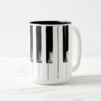 Old Piano Keys Two-Tone Coffee Mug