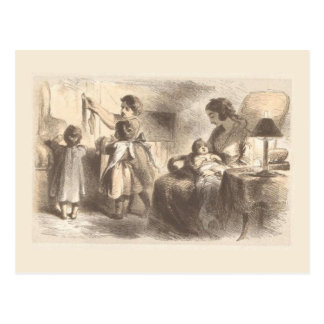 Old Picture ofChildren Hanging Stockings Postcard