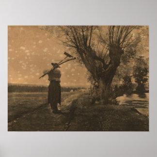 Old Pioneer farmer Poster
