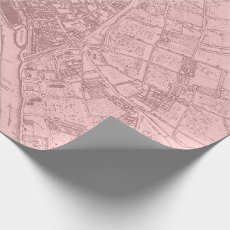 Old Plan Paris Mauve Lilac Blush Pink Royal Mapa Wrapping Paper