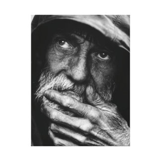 Old poor man black and white portrait canvas stretched canvas print