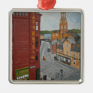 Old Port Glasgow with Town Clock Metal Ornament