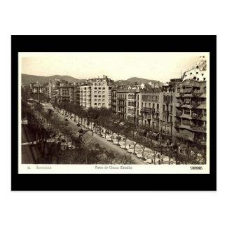 Old Postcard, Barcelona, Paseo de Gracia Postcard