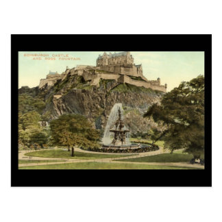 Old Postcard, Edinburgh Castle and Ross Fountain Postcard