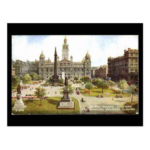 Old Postcard, Glasgow, George Square