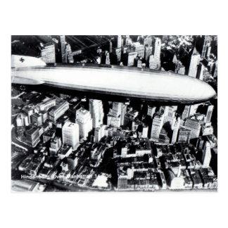Old Postcard - Hindenburg over Manhattan 1936