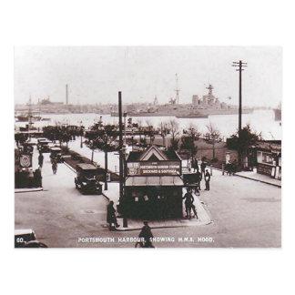 Old Postcard - HMS Hood, Portsmouth Harbour