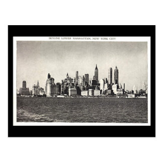 Old Postcard - Lower Manhattan Skyline