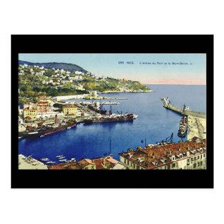 Old Postcard, Nice, Entree du Port et Mont Boron Postcard