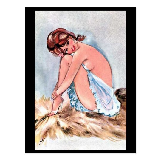 Old Postcard - Pin-Up Girl
