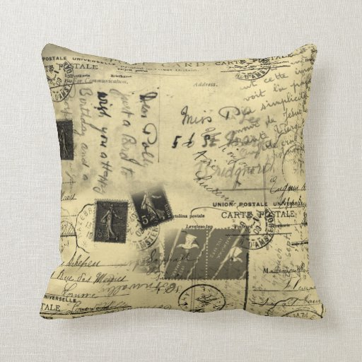 Old Postcards Large Pillow