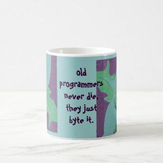old programmers never die basic white mug