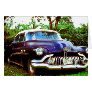 Old Purple Classic Buick Car greetings Card. Card