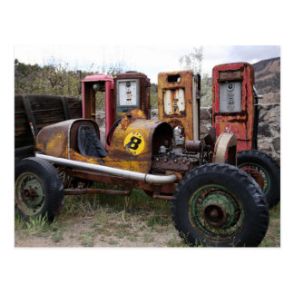Old Race Car and Gas Pumps Postcard Postcards