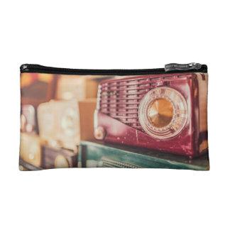 Old radios cosmetics bags