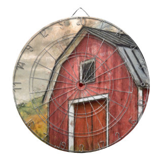 Old Red Barn Watercolor Orford Dartboard