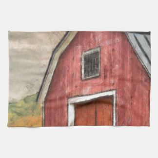 Old Red Barn Watercolor Orford Towel