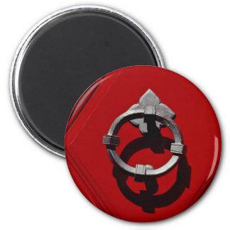 Old red door in Zurich, Switzerland 6 Cm Round Magnet