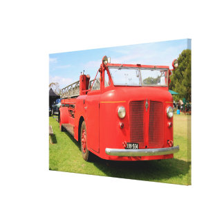 Old red fire engine canvas print