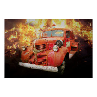 Old red fire truck from yesteryear poster