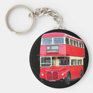Old red London bus from around 1950 Basic Round Button Key Ring