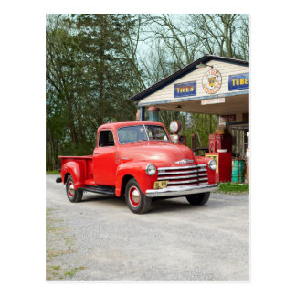 Old Red Restored Vintage Pickup Truck Postcard