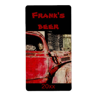 Old red rusted truck beer bottle label shipping label