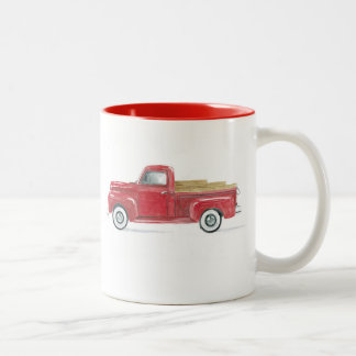 Old Red Truck Two-Tone Coffee Mug