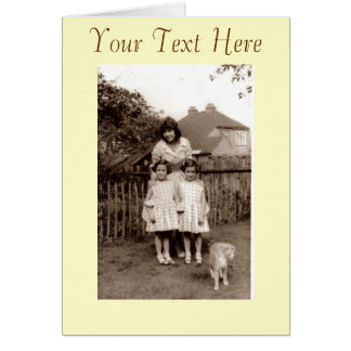 Old retro 1950's photo of cute twins with cat greeting card