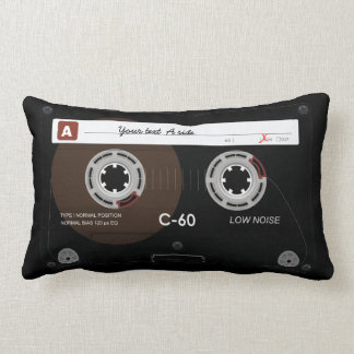 Old Retro Music Cassette MixTape Lumbar Cushion