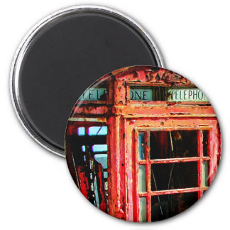 Old Retro Rustic Telephone booth 6 Cm Round Magnet