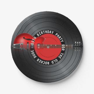 Old Rocker Dude Guitar Record 55th Birthday Party 7 Inch Paper Plate