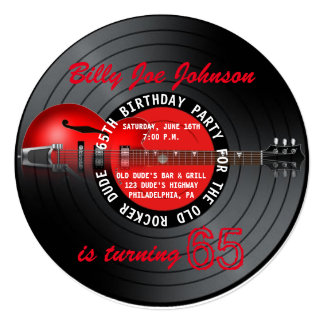 Old Rocker Dude Guitar Record 65th Birthday Party Card