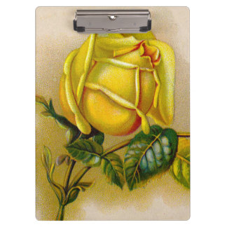 Old Rose Yellow Vintage Clipboard