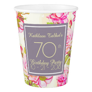 Old Roses 70th Birthday Party Paper Cup