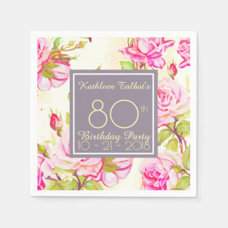 Old Roses 80th Birthday Party Paper Napkin
