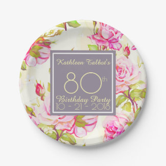Old Roses 80th Birthday Party Paper Plate