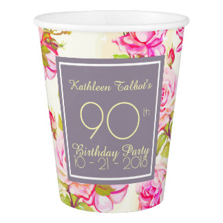 Old Roses 90th Birthday Party Paper Cup