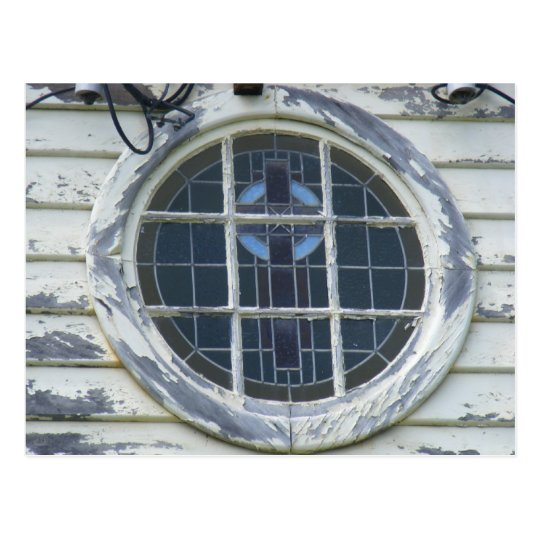 Old round window postcard